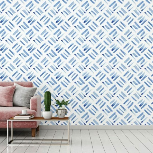 Blue watercolor square peel and stick wallpaper