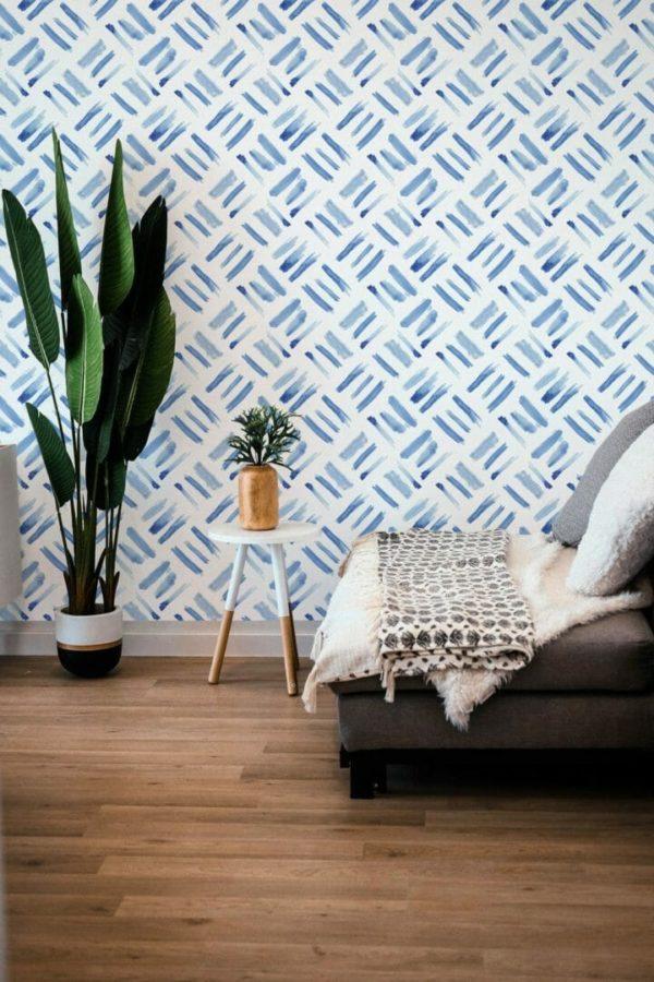 Blue watercolor square removable wallpaper