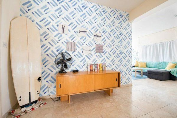 Blue watercolor square self-adhesive wallpaper