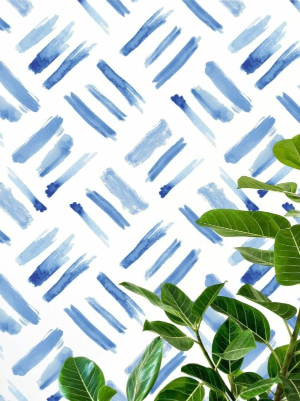 Blue watercolor square unpasted traditional wallpaper