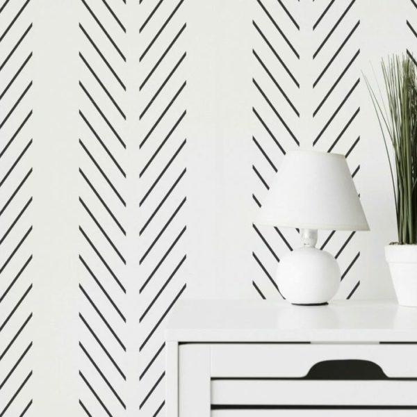Modern delicate herringbone wallpaper
