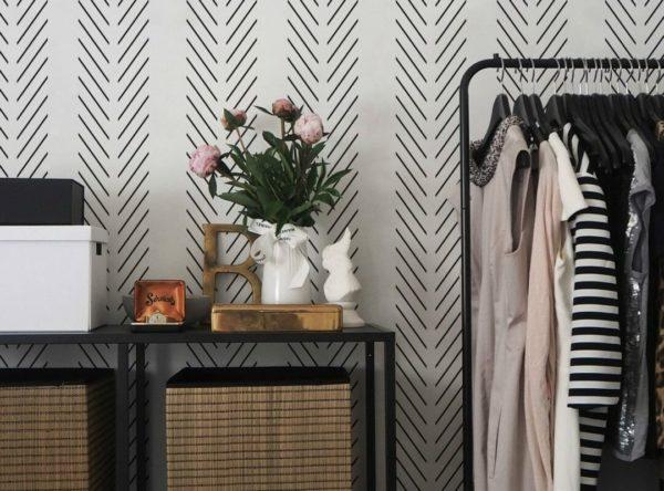 black and white herringbone peel and stick wallpaper