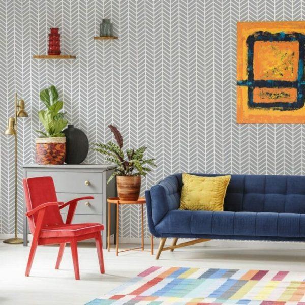 Herringbone pattern wallpaper in living room
