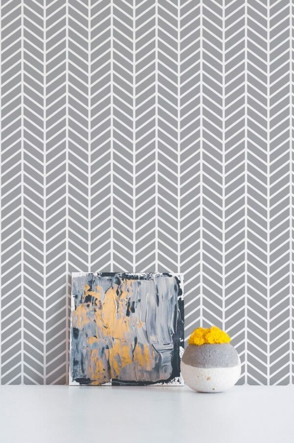 Grey geometric herringbone peel and stick wallpaper