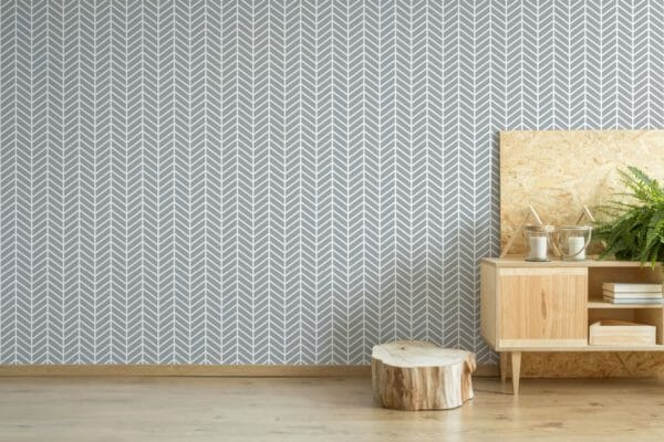 Grey geometric herringbone removable wallpaper