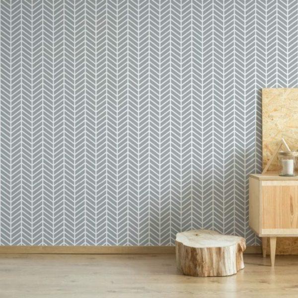 Herringbone wallpaper in gray and white