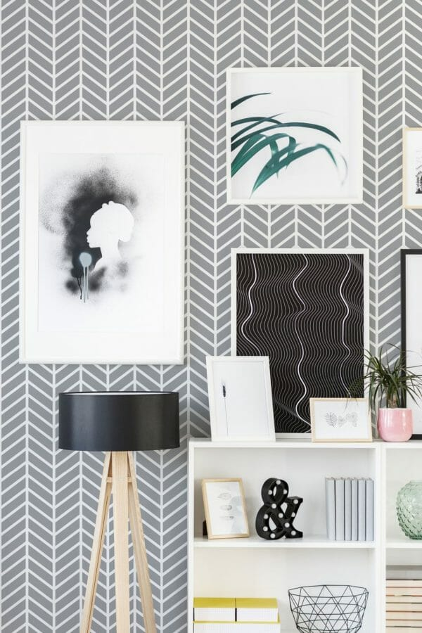 Grey geometric herringbone unpasted traditional wallpaper