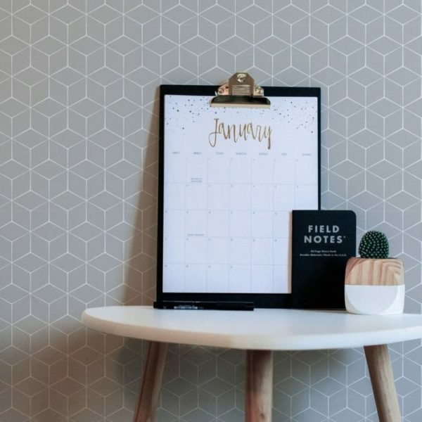 Grey hexagon peel and stick wallpaper