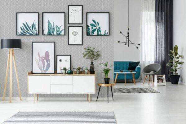 Grey hexagon removable wallpaper