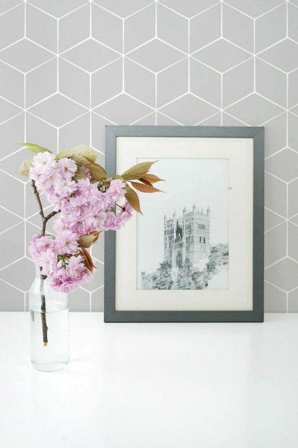 Grey hexagon self-adhesive wallpaper
