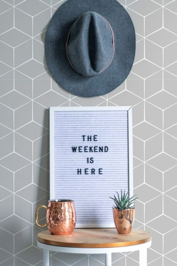 Grey hexagon unpasted traditional wallpaper