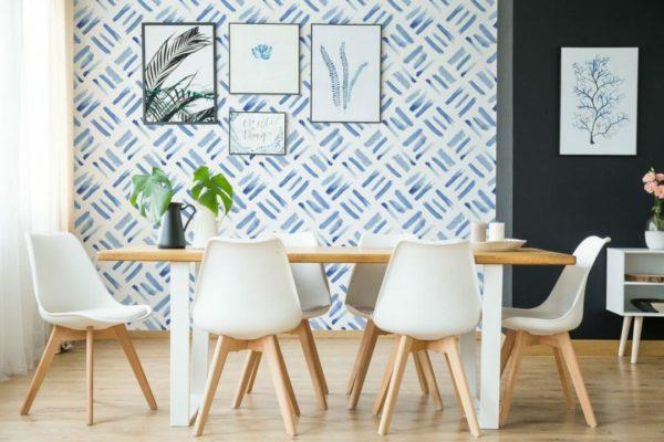 Removable blue watercolor wallpaper