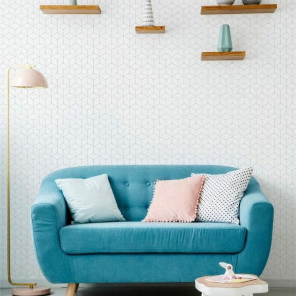 White hexagon peel and stick wallpaper