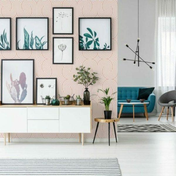 Pinkgeometricshapepatternpeelandstickwallpaperinlivingroom
