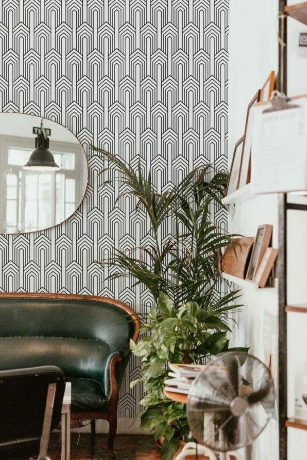 Black and white art deco design pattern