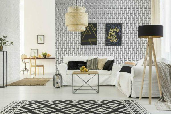 Black and white art deco design peel and stick wallpaper