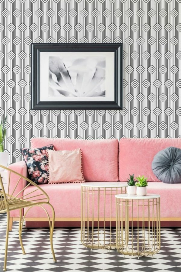 Black and white art deco pattern unpasted traditional wallpaper