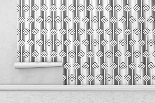 Black and white art deco pattern wallpaper rolls
