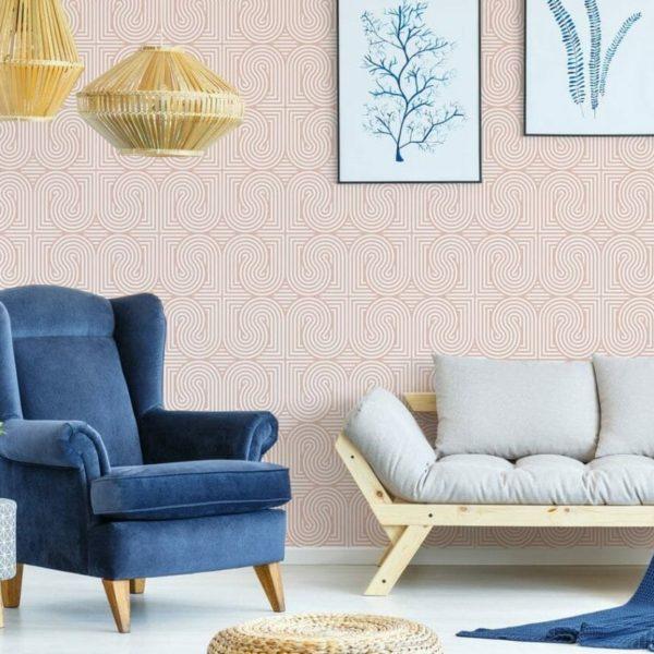 Seamless geometric retro pattern peel and stick wallpaper