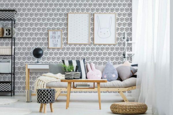 Black and white 3D geometric shapes design pattern
