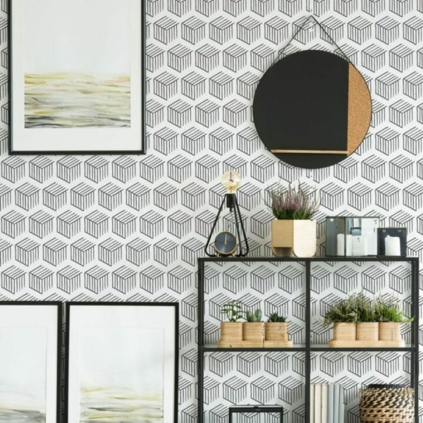 Black and white 3D geometric shapes peel and stick wallpaper