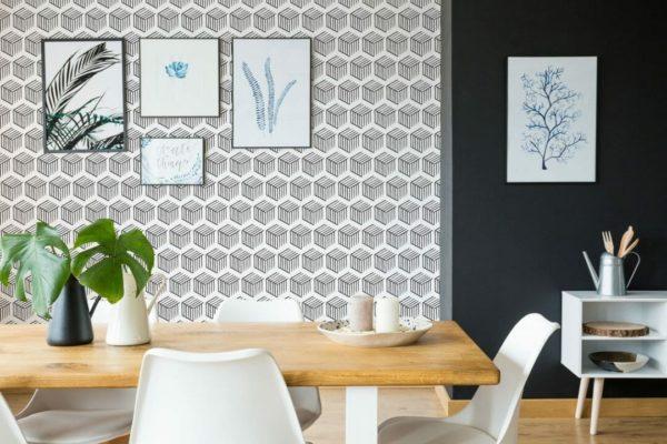 Black and white 3D geometric shapes self-adhesive wallpaper