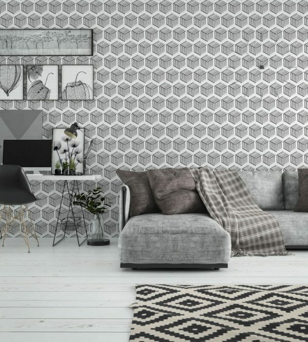 Black and white 3D geometric shapes unpasted traditional wallpaper