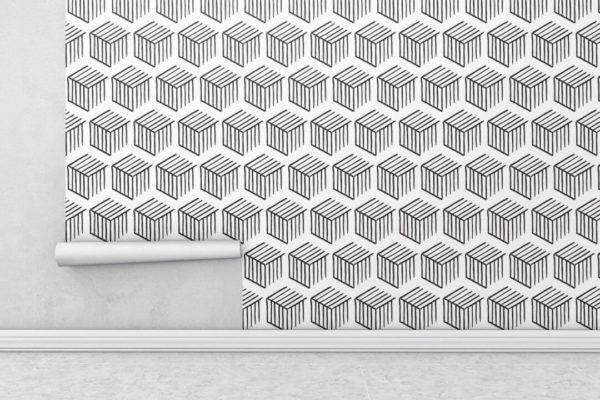 Black and white 3D geometric shapes wallpaper rolls