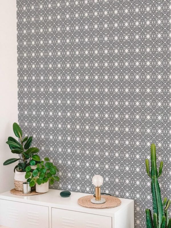 Black and white Art Deco peel and stick wallpaper