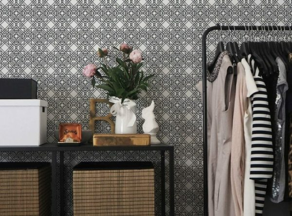 Black and white Art Deco removable wallpaper