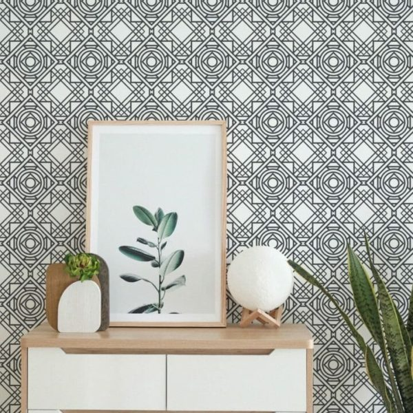 Black and white Art Deco self adhesive wallpaper