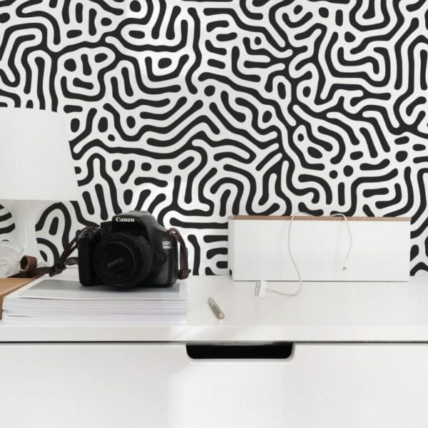 Black and white abstract maze self-adhesive wallpaper