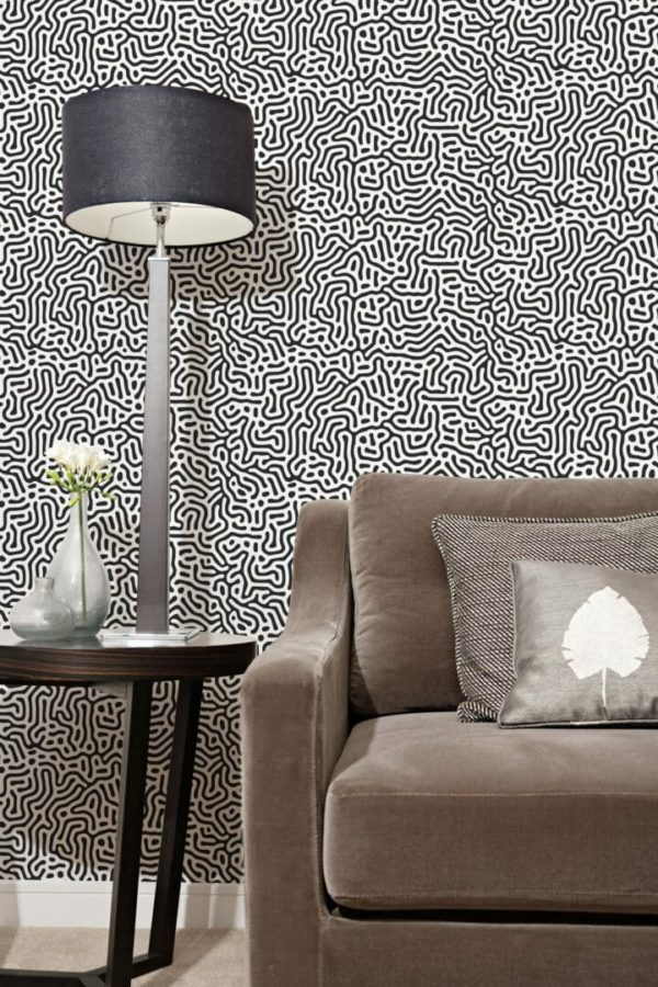 Black and white abstract maze unpasted traditional wallpaper