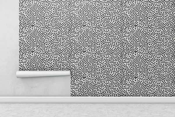 Black and white abstract maze wallpaper rolls