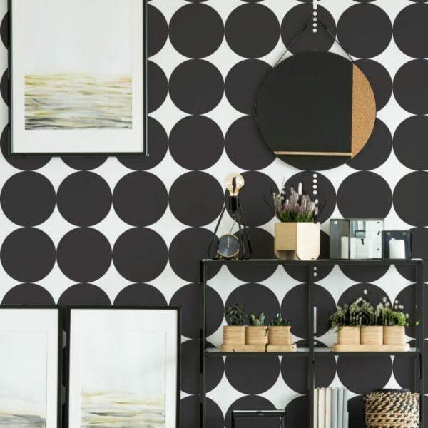 Black and white big circle peel and stick wallpaper