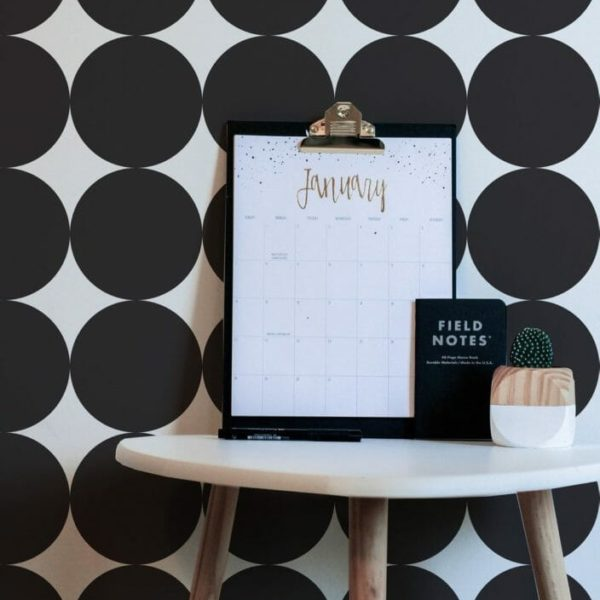 Black and white big circle removable wallpaper