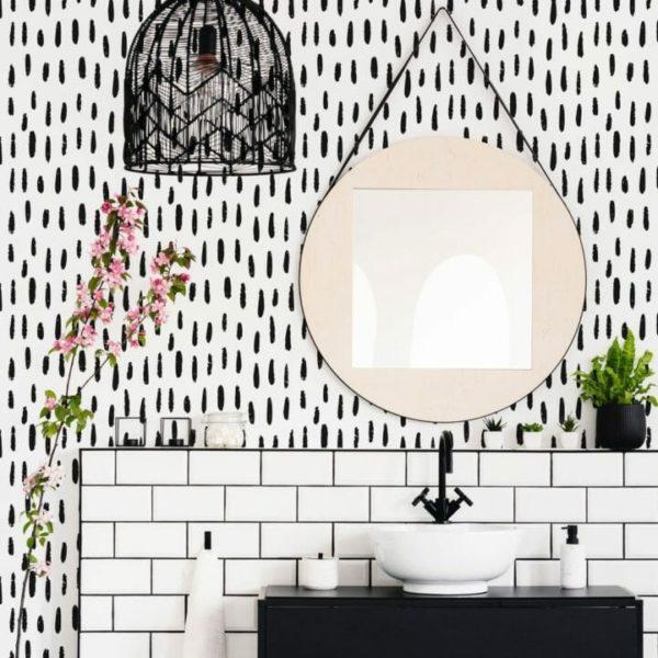 Black and white brush stroke design pattern