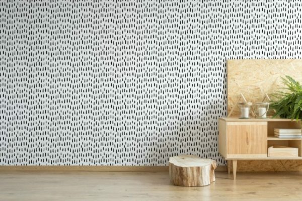 Black and white brush stroke unpasted traditional wallpaper