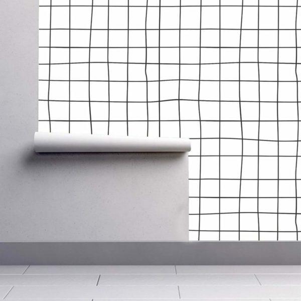 Black and white cross line wallpaper rolls