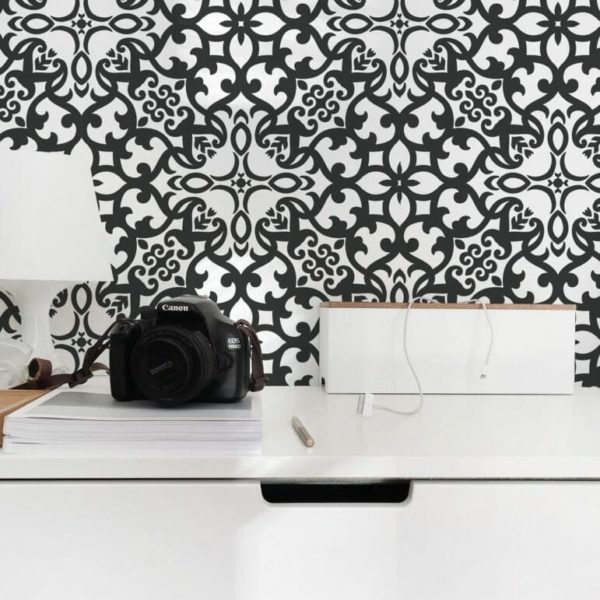 Black and white eclectic self-adhesive wallpaper