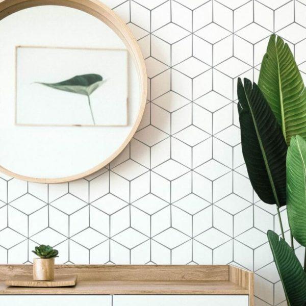 Black and white geometric cube design pattern