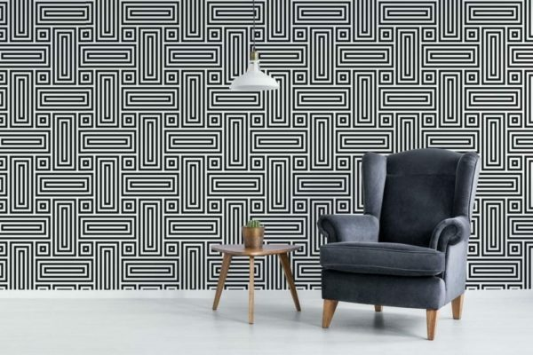 Black and white geometric figure peel and stick wallpaper
