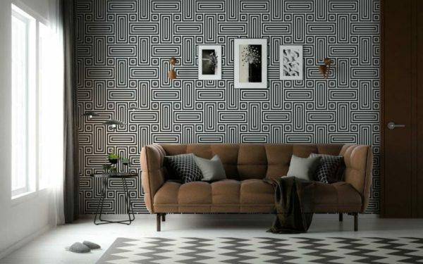 Black and white geometric figure removable wallpaper
