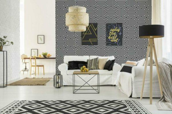 Black and white geometric figure self-adhesive wallpaper
