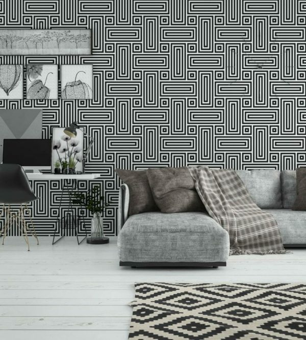 Black and white geometric figure unpasted traditional wallpaper