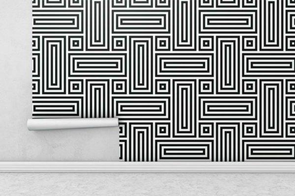 Black and white geometric figure wallpaper rolls