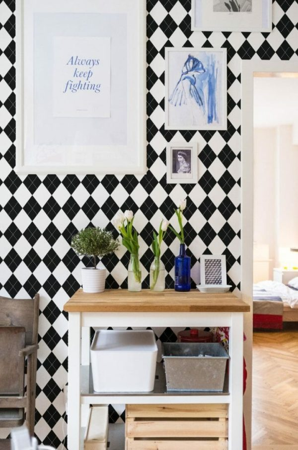 Black and white harlequin peel and stick wallpaper