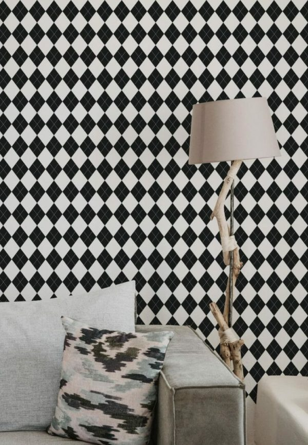 Black and white harlequin removable wallpaper