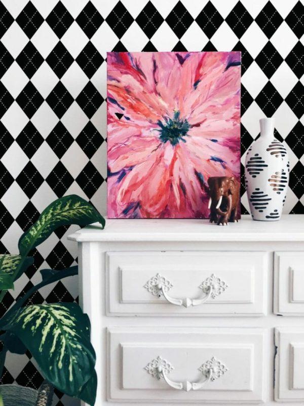 Black and white harlequin self-adhesive wallpaper