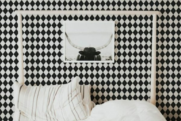 Black and white harlequin unpasted traditional wallpaper